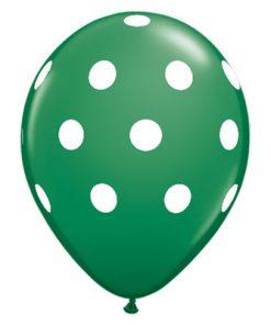 Mørkegrøn - polkaprikket ballon
