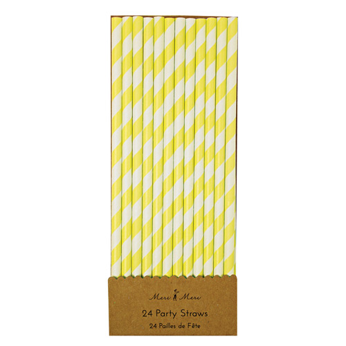 Originale vintage sugerør - gul og hvid stribet fra Meri Meri