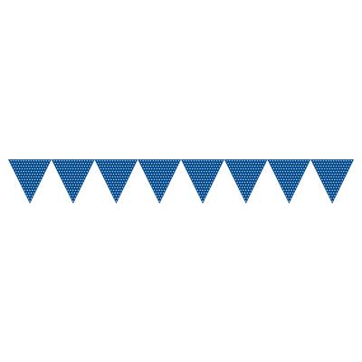 Mørkeblå flagguirlande med hvide polkaprikker - Nytårspynt