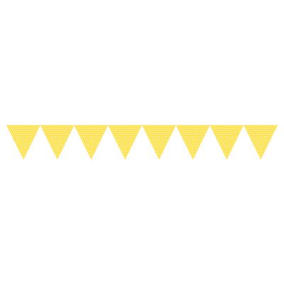 Flag guirlande - gul med hvide polkaprikker festpynt