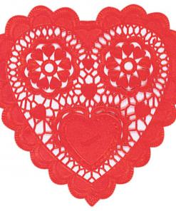 Hjerteformet blondeserviet i rød - 15 cm - kageserviet