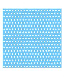 Lyseblå serviet med hvide prikker