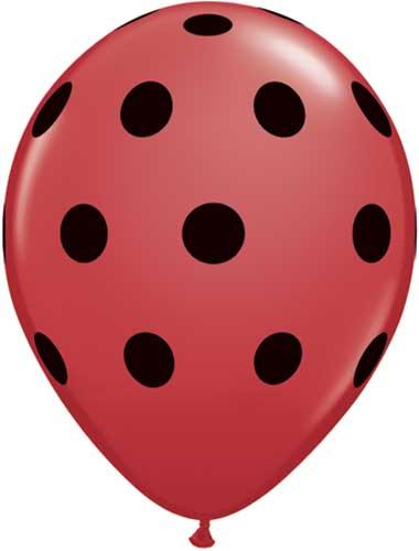 Rød og sort ballon - mariehøne