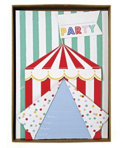 Invitation til cirkusfest - fra Meri Meri Toot Sweet temaet