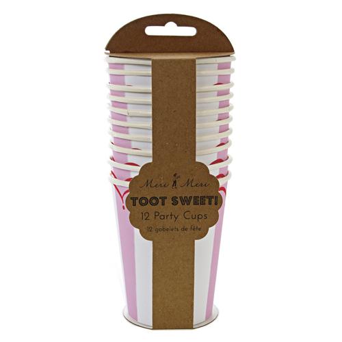 Lyserødt og hvid stribet papkrus fra Meri Meri serien Toot Sweet