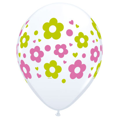 Hvid ballon med blomster