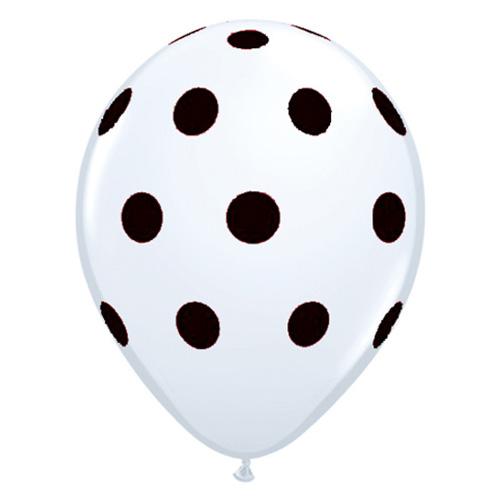 Hvid ballon med sorte polkaprikker