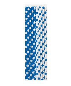 Blåt papirsugerør med prikker