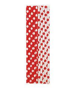 Røde papirsugerør med polkaprikker