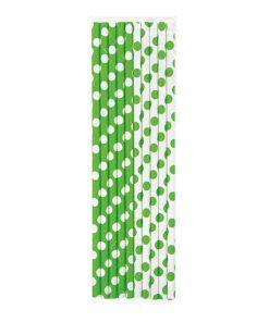 lime papirsugerør med polkaprikker