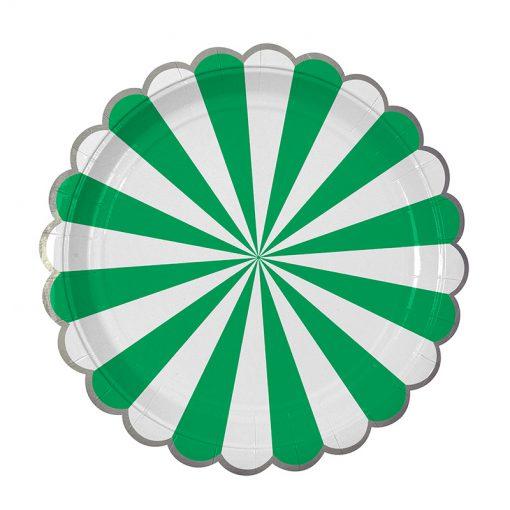 Grøn tallerken med hvide striber