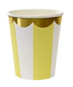 Papkrus med gule og hvde striber og guldkant