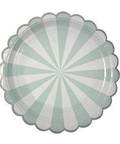 Paptallerken i aqua mint med hvide striber - fra Meri Meri