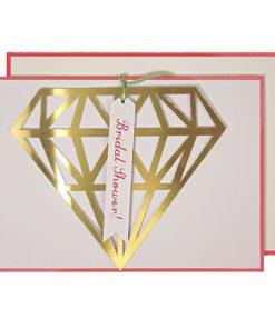 Bryllups lykønskningskort med flot diamant af guld