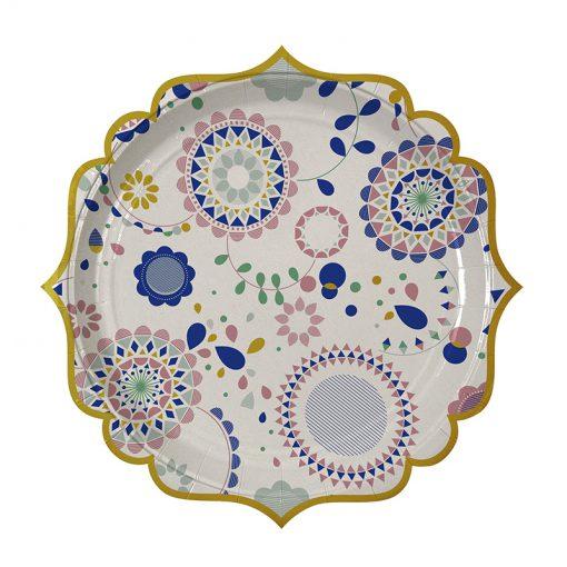 Tallerken med mønster og guldkant