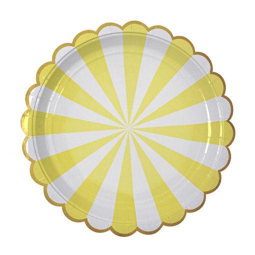 Gul og hvid tallerken - sommertallerken