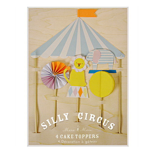 Lagkagepynt - Silly Cirkus fra Meri Meri. Sødt sæt med elefant, løve og cirkustelt