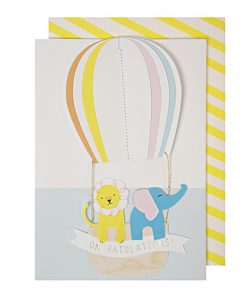 Silly Cirkus lykønskningskort med løve og elefant i luftballon fra Meri Meri
