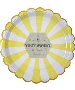 Tallerken med gule og hvide striber - sød til sommerfesten