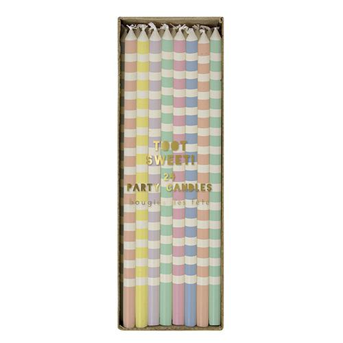 Stribede, pastelfarvede lagkagelys fra Meri Meri - store