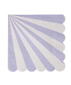 Lavendel og hvid stribet serviet - Meri Meri - Lille