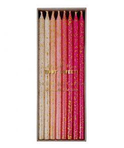 Lagkagelys i pigefarver med glimmer - fra Meri Meri - lyserøde, pink og hvide