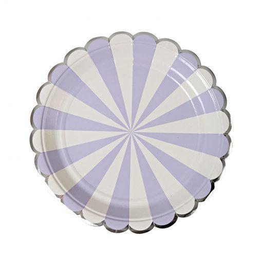 Tallerken med bølgekant i sølv - lavendel og hvid stribet