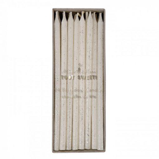 Hvide lagkagelys med sløvglimmer fra Meri Meri - store