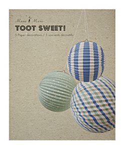 Pakke med lanterner i blå farver - perfekt til barnedåb