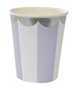 Lavende striber - papkrus med sølv bort