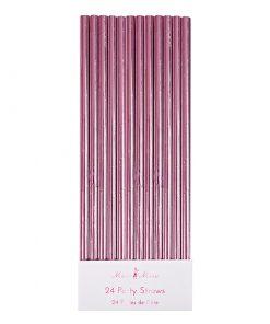 Pink lyserød metallic sugerør fra Meri Meri