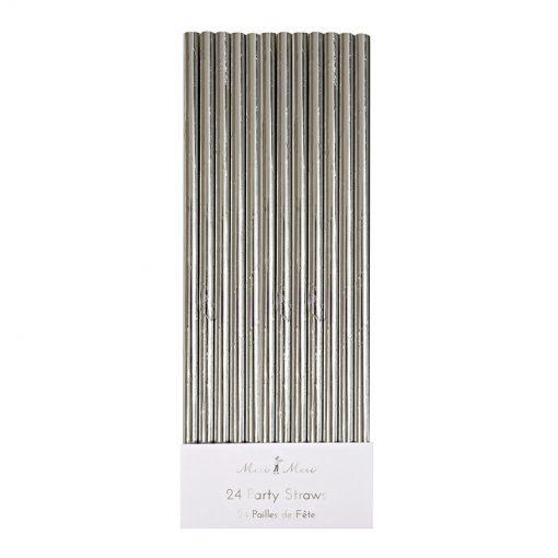 Sølv metallic papirsugerør