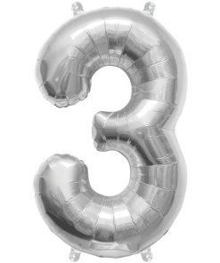 Sølv ballon med tallet 3