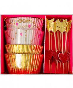 Valentinsdag cupcake sæt med pile og hjerter