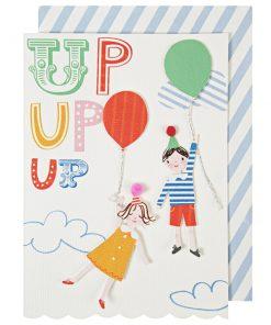 Fødselsdagskort - up up up kort med børn - fra Meri Meri