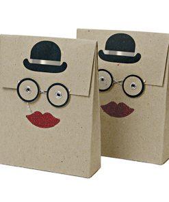 Gave poser fra Meri Meri med hat, briller og læber - små gaveposer