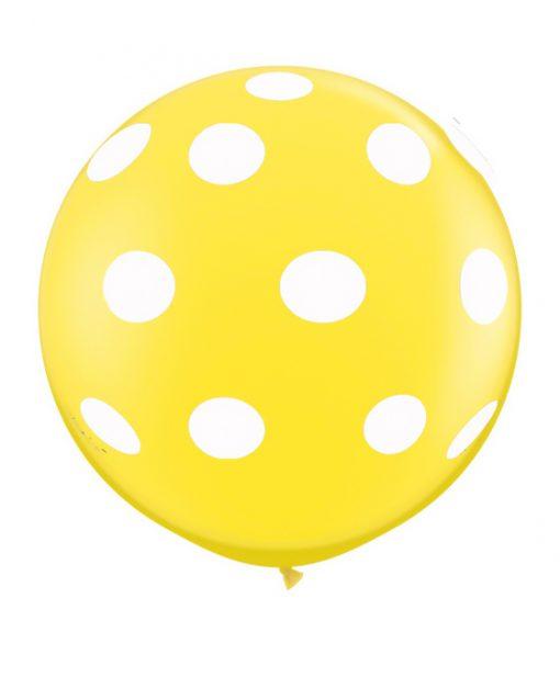 kæmpe ballon med prikker gul