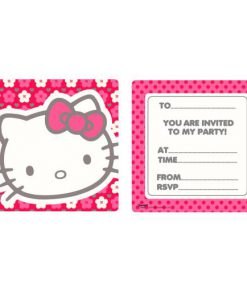 Hello Kitty blomster invitation