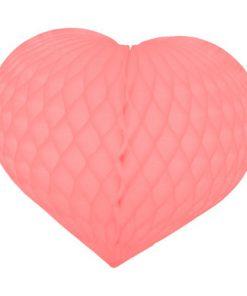 Stort lyserødt honeycomb hjerte - bryllup og valentinsdag