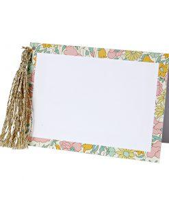 Liberty bordkort med guldfrynser - perfekt til bryllup