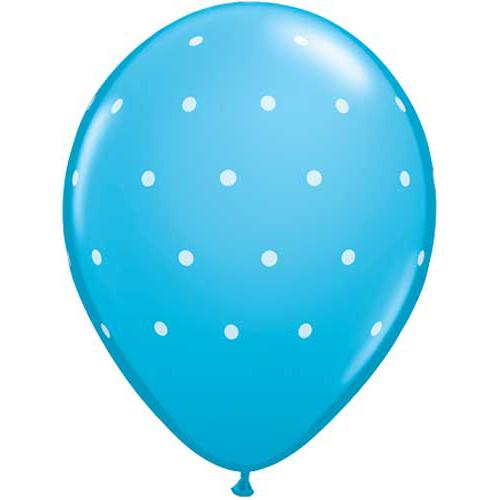 Lyseblå ballon med små hvide prikker
