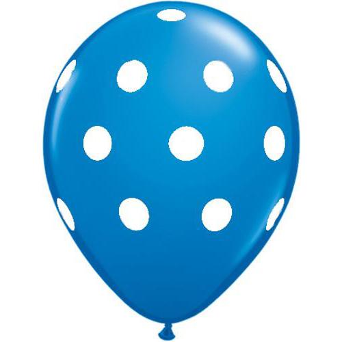 Mørkeblå ballon med hvide polkaprikker - Magiske Minder