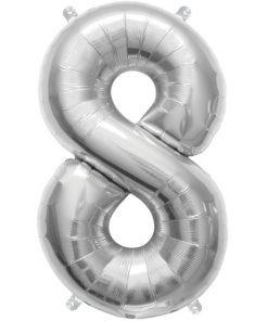 Sølv ballon med tallet 8
