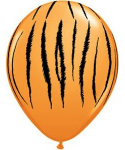 Orange ballon med tigerstriber