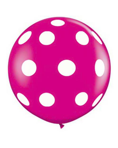 pink kæmpeballon med hvide prikker