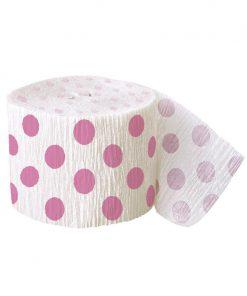 Crepebånd med lyserøde polkaprikker