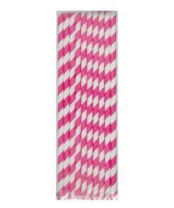 Pink og hvidstribet sugerør