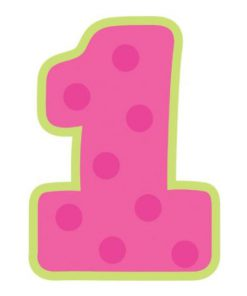 Pink 1 års kagelys med grøn streg