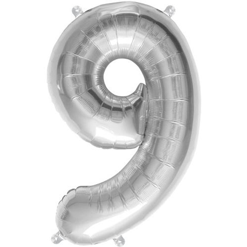 Sølv ballon med tallet 9