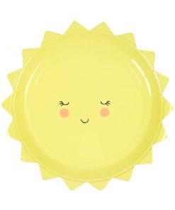Sød tallerken - formet som en sol - barnedåb, 1 års fødselsdag eller babyshower